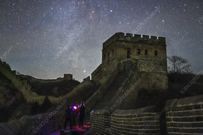 Night sky over the Great Wall of China