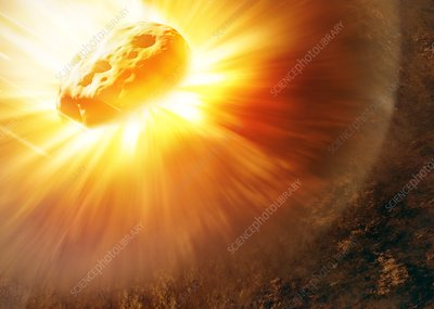 Asteroid impact, illustration