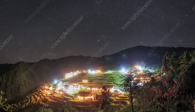 Light pollution over village in Kaihua, China