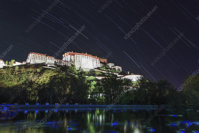Star trails over the Potala Palace
