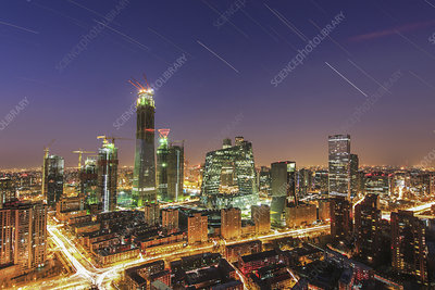 Star trails and light pollution over Beijing, China