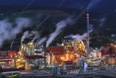 ENCE Company Paper mill at night, Navia, Asturias Spain