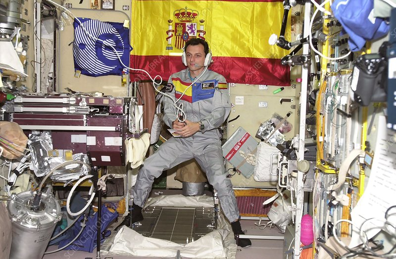 Spanish astronaut Duque on the ISS, October 2003