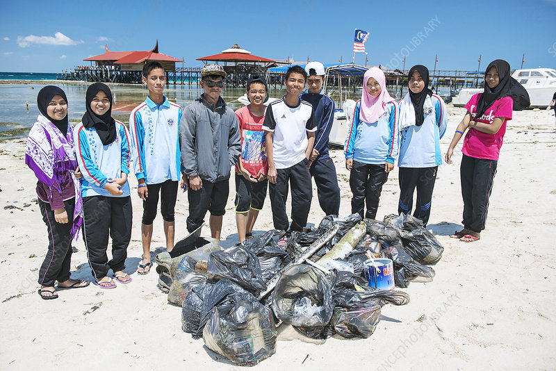 Waste collected on a beach