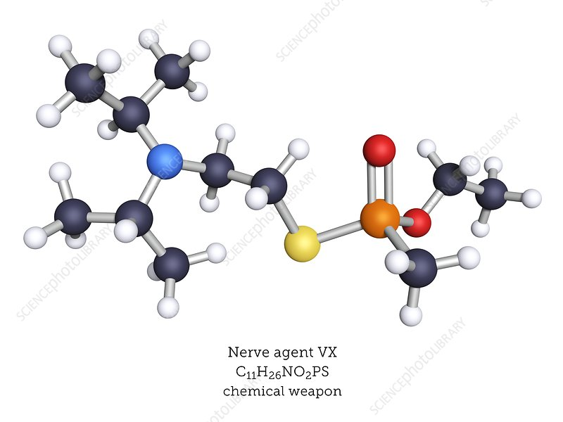 VX nerve agent, molecular model