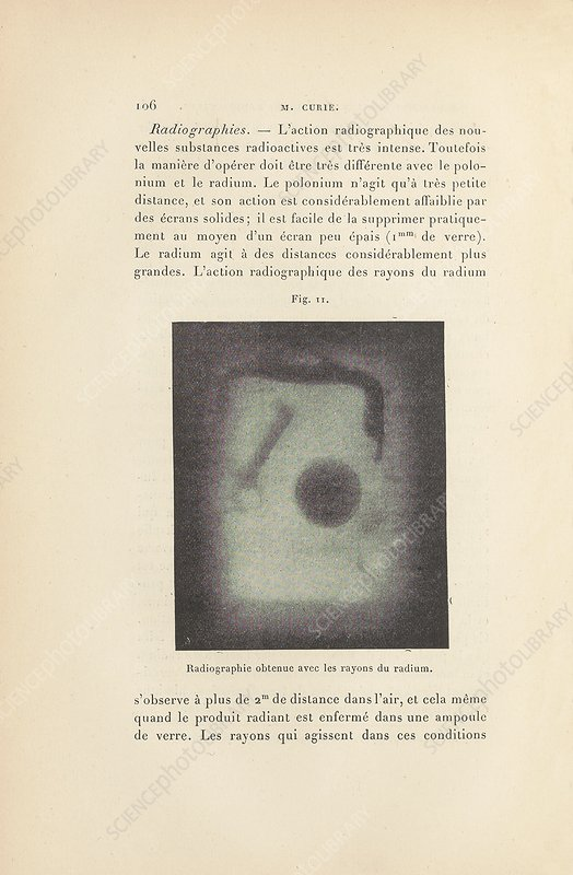 Doctoral research on radium by Marie Curie, 1904