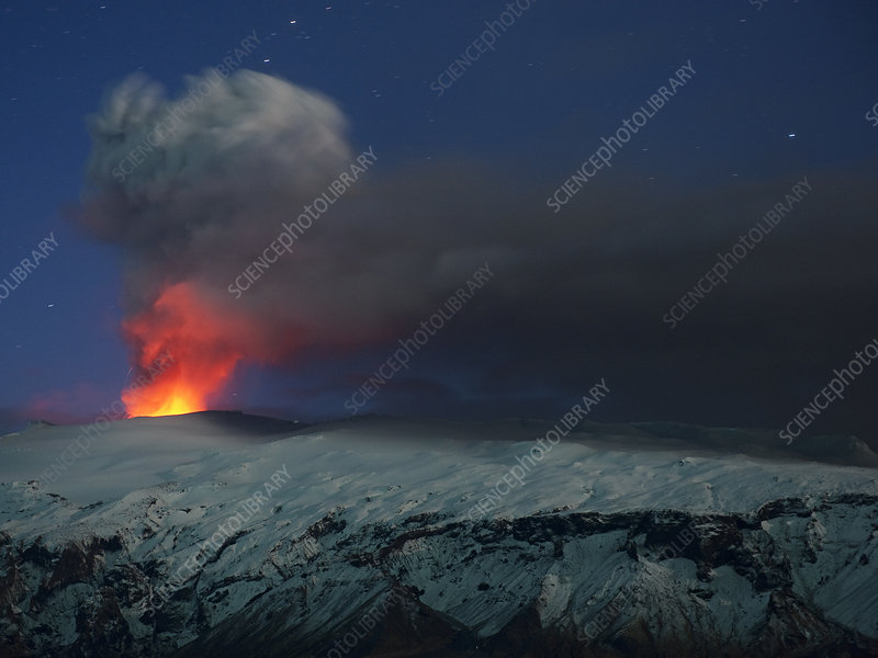 Ash plume and lava eruption from Eyjafjallajokull, Iceland