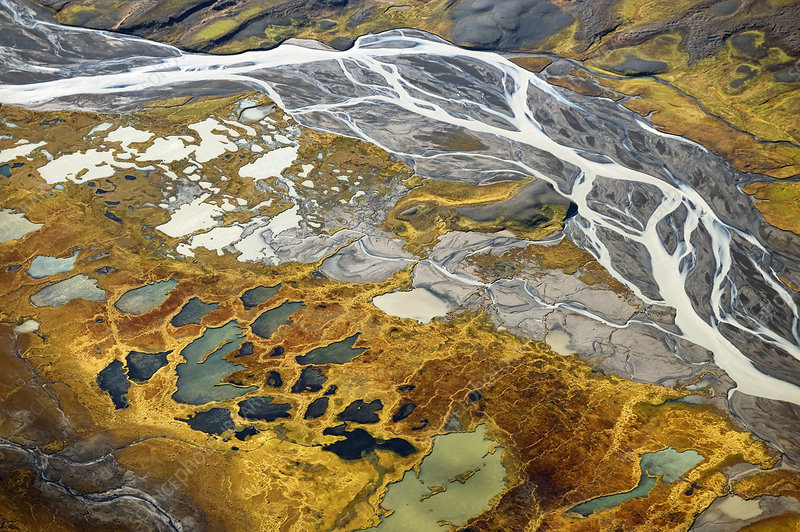 Aerial view down river to the Hofsjakull glacier, Iceland