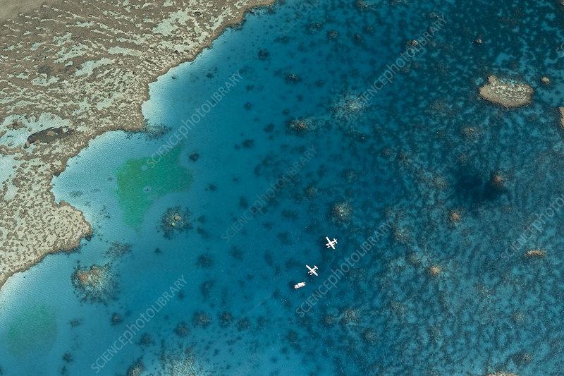 Aerial view of Hardy Reef, Great Barrier Reef, Australia