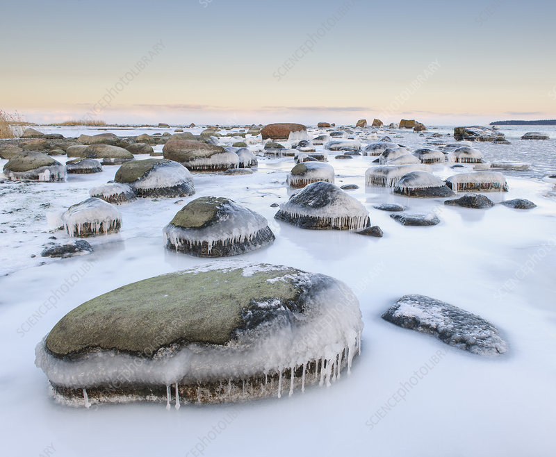Ice covered rocks along coast of the Baltic Sea, Estonia