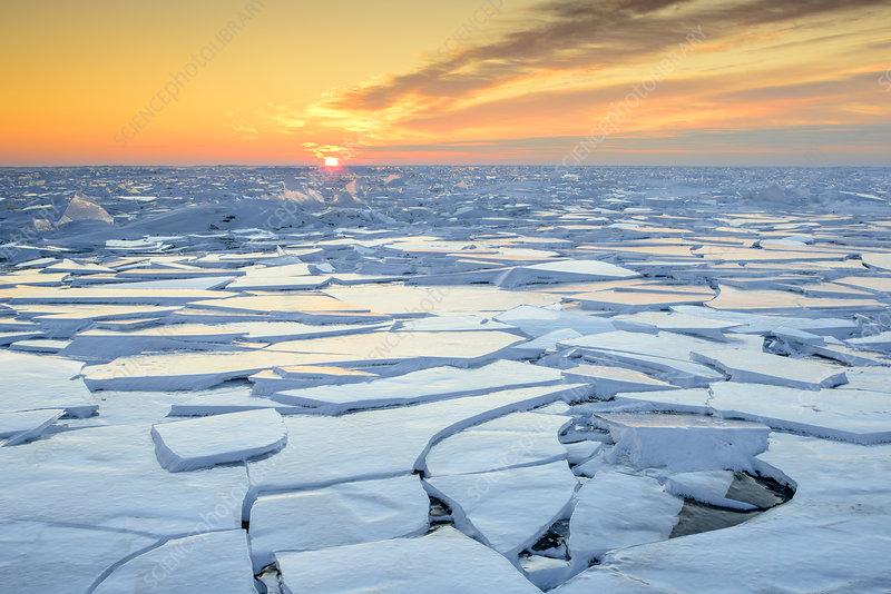 Dawn over frozen Lake Peipsi, Estonia