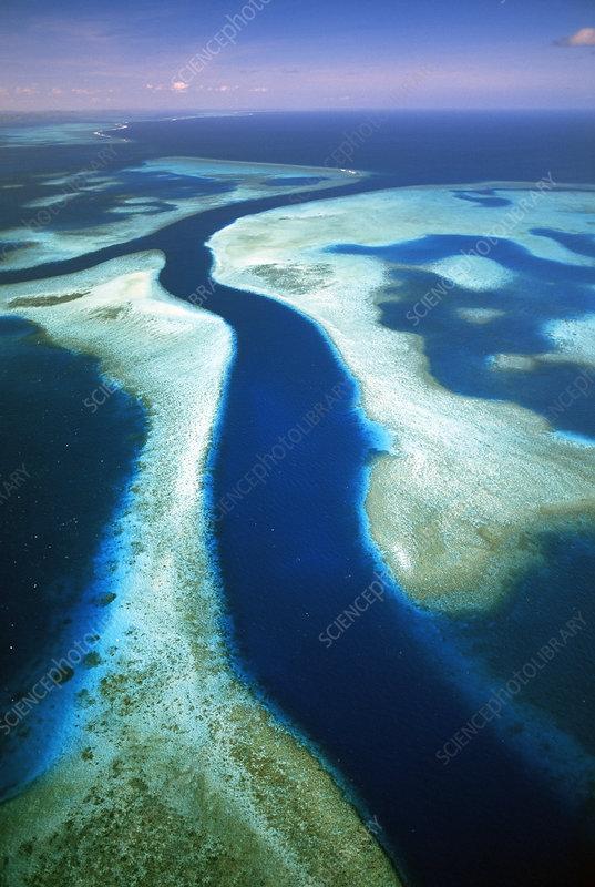 Aerial view of Kossol Passage, Kossol Reef, Palau Islands