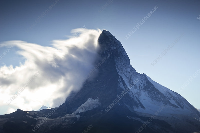 Banner cloud formation around the summit of the Matterhorn