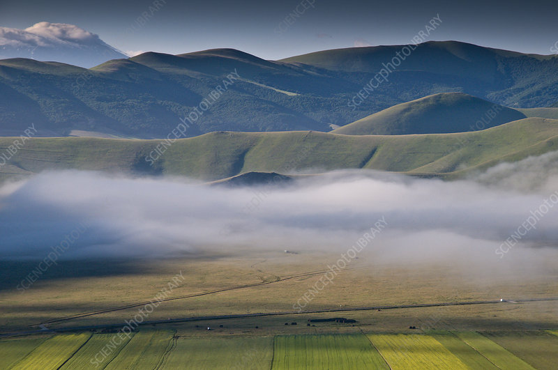 Low lying cloud, or mist over the Piano Grande, Italy