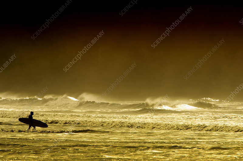 A lone surfer silhouetted whilst walking into the sea