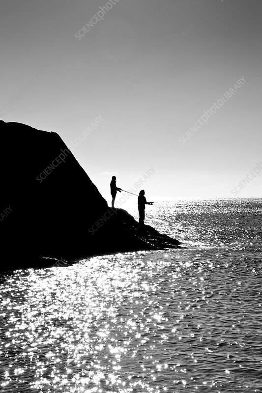 Two men fishing, Lansallos Cove, Cornwall, UK