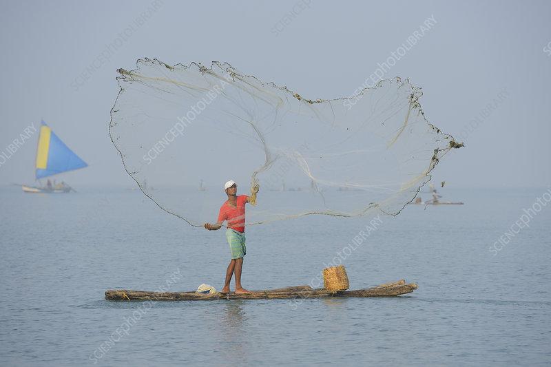Throw-net fisherman on raft, Pulicat Lake, Tamil Nadu, India