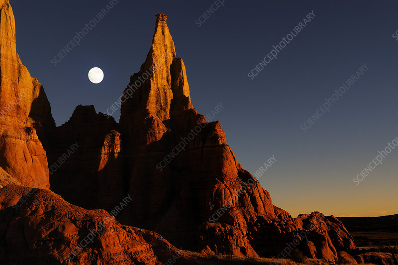 Sandstone cliff at sunset, Colorado Plateau, Utah, USA