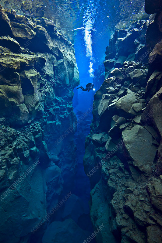 Diver explores the cathedral at Silfra Canyon, Iceland