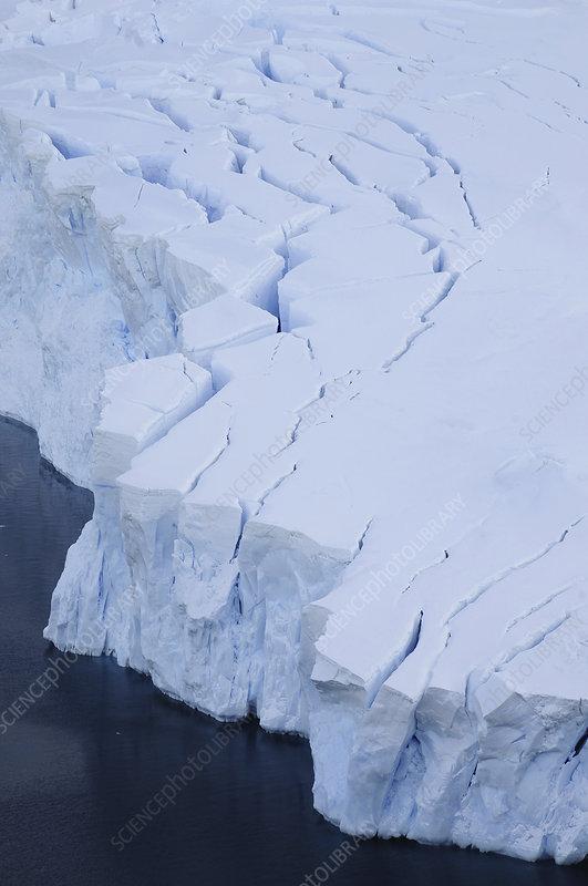 Aerial shot of glaciers, Neko Harbour, Antarctica