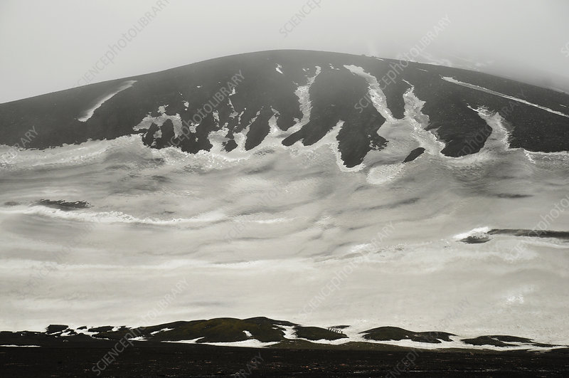 Snow and volcanic ashes, Deception Island, Antarctica