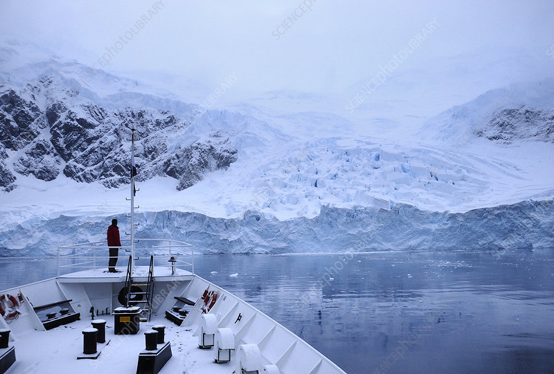 View of Antarctic Peninsula from cruise liner
