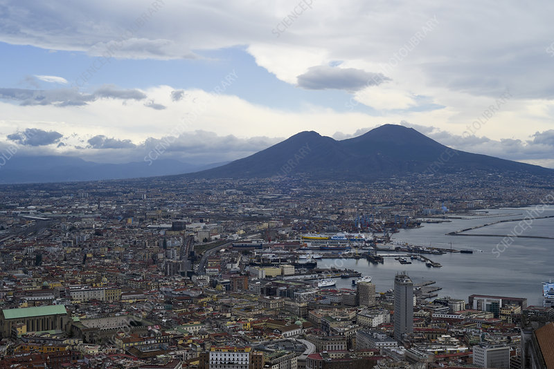 Vesuvius and the city of Naples, Italy