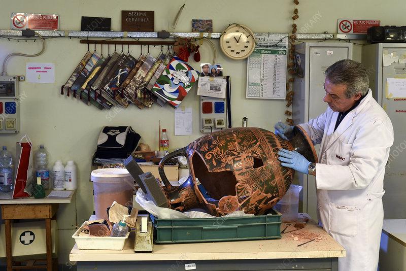 Restoration of Roman ceramic vessel