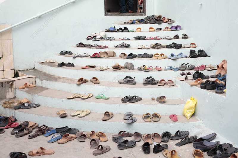 Shoes outside a mosque
