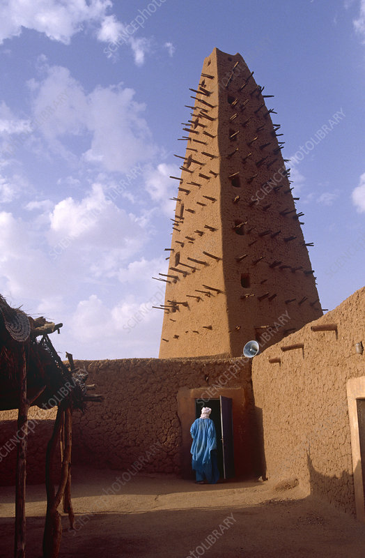 13th century Grand Mosque built of clay, Agadez, Niger