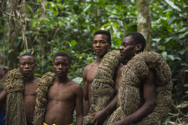 Ba'Kola Pygmies with hunting nets, Republic of Congo