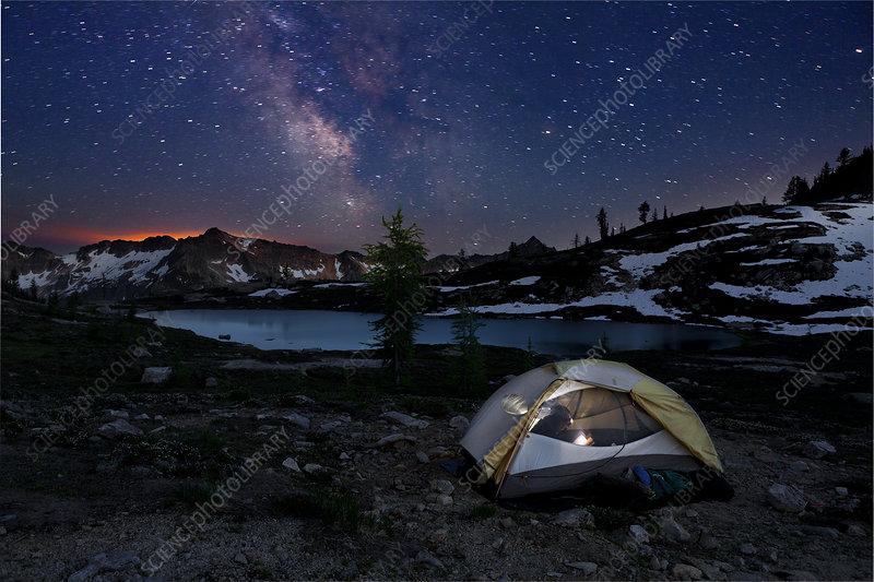 Campsite at night in Snowy Lakes Basin, Washington, USA