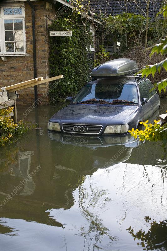 Car stranded in flood from River Thames, Surrey, UK, 2014