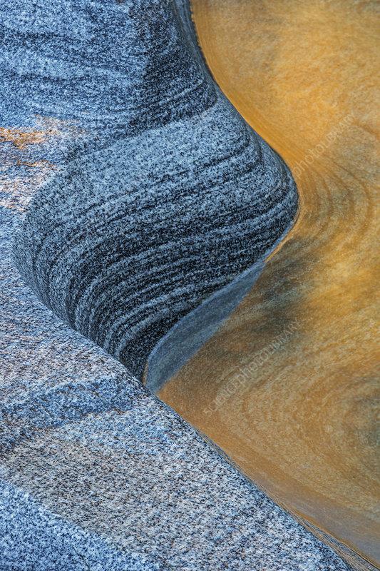 Granite rocks and river, Switzerland