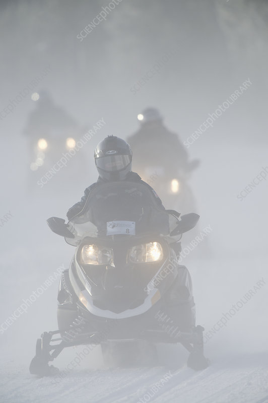 Guided snowmobile tours in Yellowstone National Park, USA