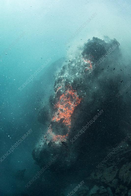 Hot lava from Kilauea Volcano erupting underwater
