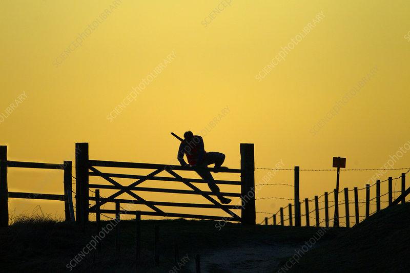 Man with shotgun climbing gate