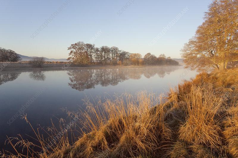 River Spey at dawn in spring, Scotland, UK