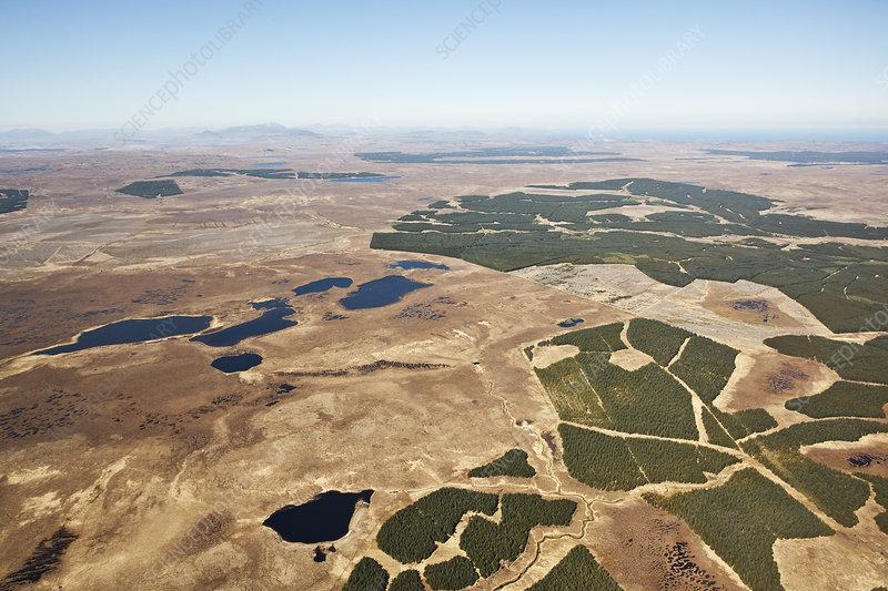 Aerial view of Forsinard Flows blanket bog, Scotland, UK