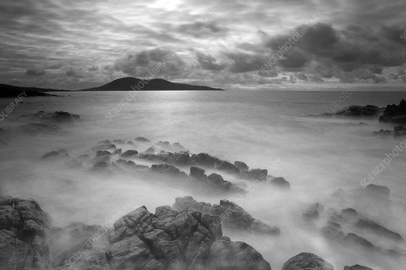 Stormy weather across the Sound of Harris, Scotland, UK