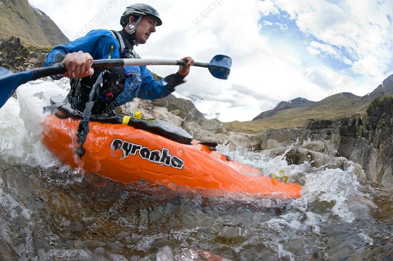 Kayaker on the River Etive, Highlands, Scotland, UK