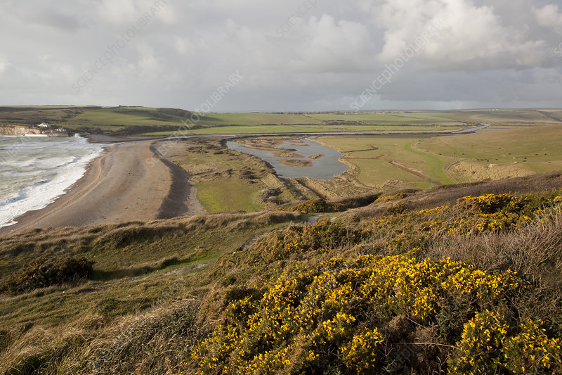 Chalk downland and river estuary, East Sussex, UK