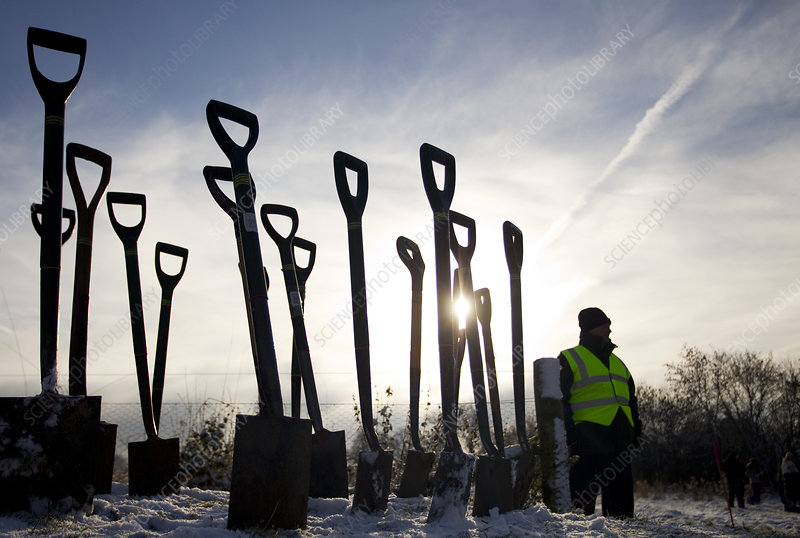 Man standing next to a group of spades stuck in the ground