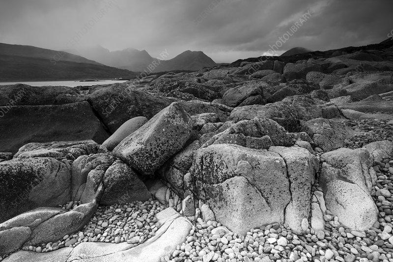 Camus Malag beach on Loch Slapin, Scotland, UK