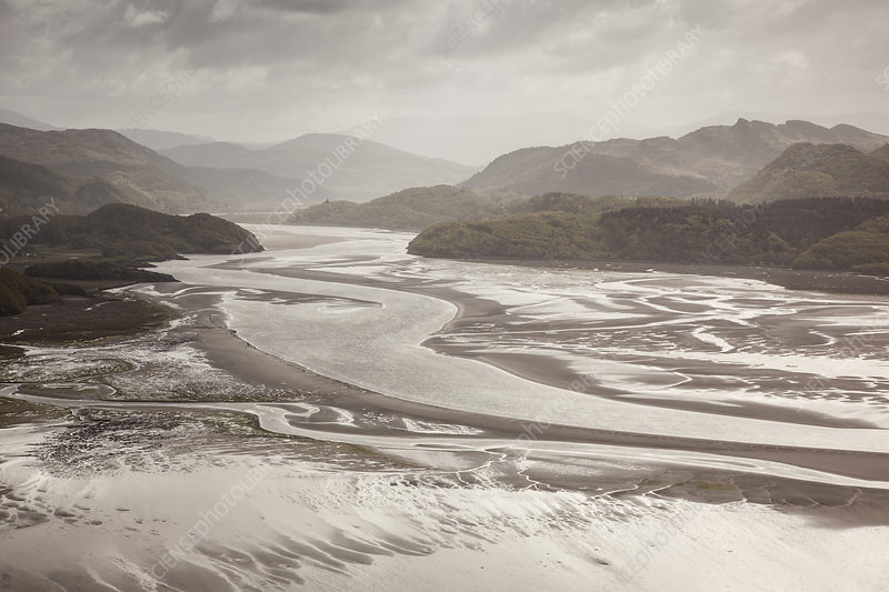 Mawddach Estuary at low tide, Snowdonia National Park, UK