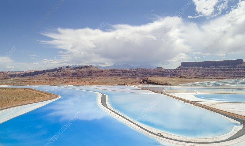 Solar evaporation ponds, Utah, USA