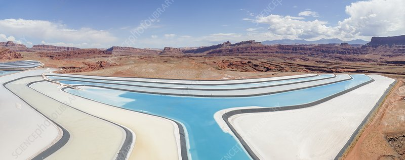 Solar evaporation ponds, Utah, USA