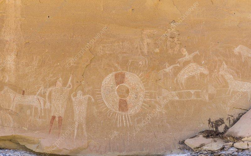 Ancient pictographs,Utah, USA