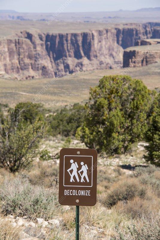 Decolonize hiking trail sign, Arizona, USA