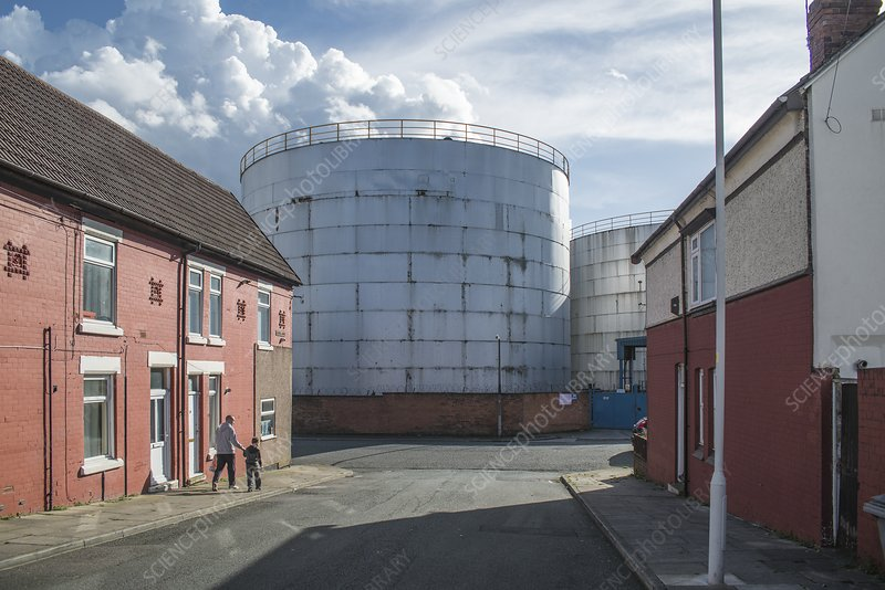 Oil storage tanks at end of street